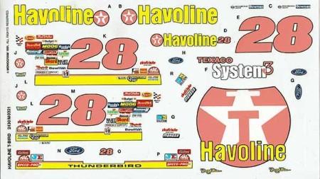"""Decals 1991 """"Havoline"""" Ford Thunderbird - Davey Allison"""