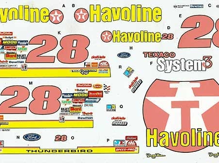 "Decals 1991 ""Havoline"" Ford Thunderbird - Davey Allison"