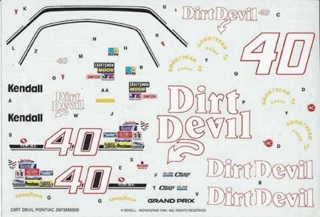 "1993 Monogram #40 ""Dirt Devil"" Pontiac Grand Prix - Kenny Wallace"