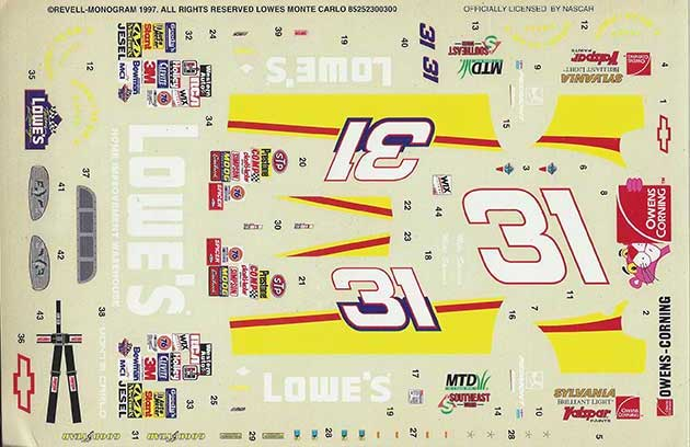 1997 Revell #31 Lowes Chevy Monte Carlo Mike Skinner Decals