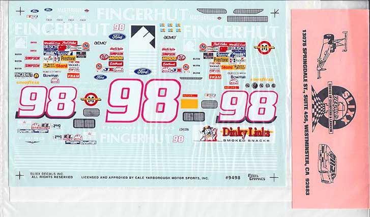 "1998 Slixx #98 ""Fingerhut"" Ford Thunderbird Jeremy Mayfield Decals"