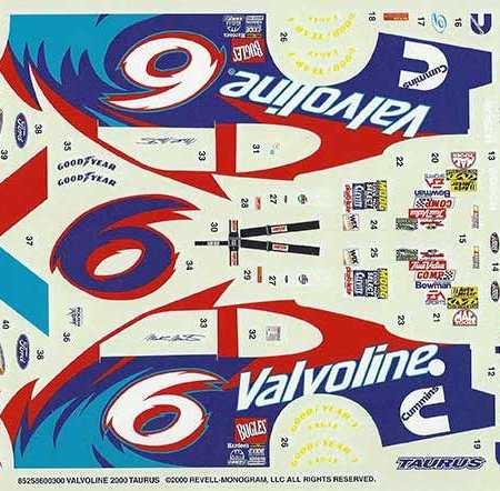 "2000 Revell #6 ""Valvoline"" Ford Taurus Mark Martin Decals"