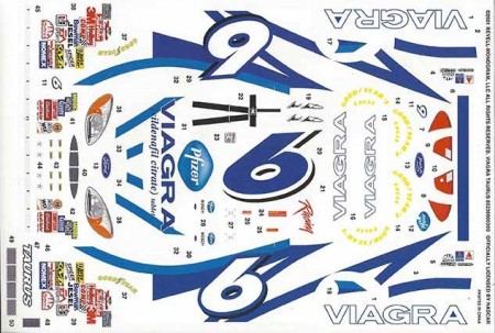 "2001 Revell #6 ""Viagra"" Ford Taurus Mark Martin Decals"