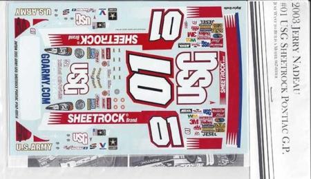 "2003 JWTBM #01 ""USG Sheetrock"" Pontiac Grand Prix Jerry Nadeau Decals"