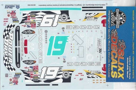 """2003 Slixx #19 Dodge """"Power Days"""" Jeremy Mayfield Decals"""