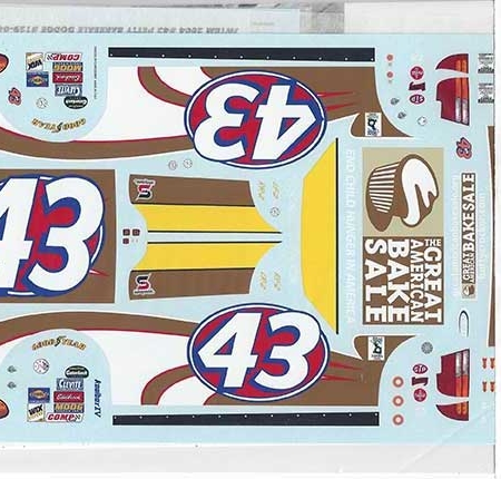 "2004 JWTBM #43 ""Great American Bake Sale"" Dodge Jeff Green Decals"